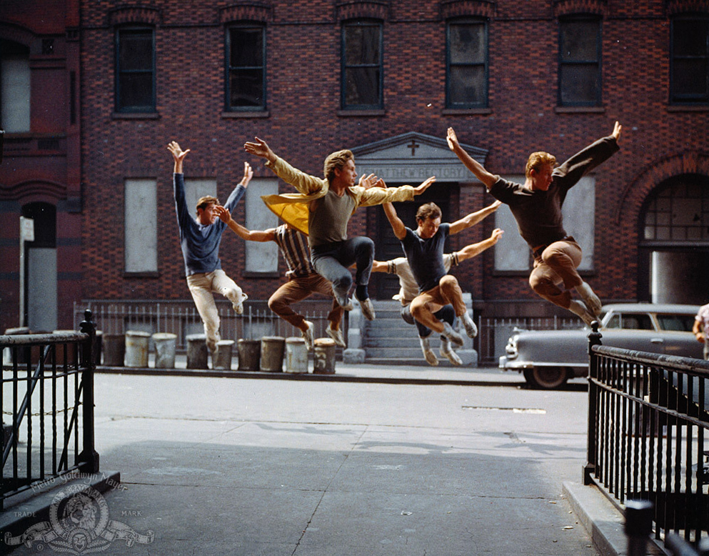 """The Jets leap as one in a still from """"West Side Story,"""" the 1961 film."""